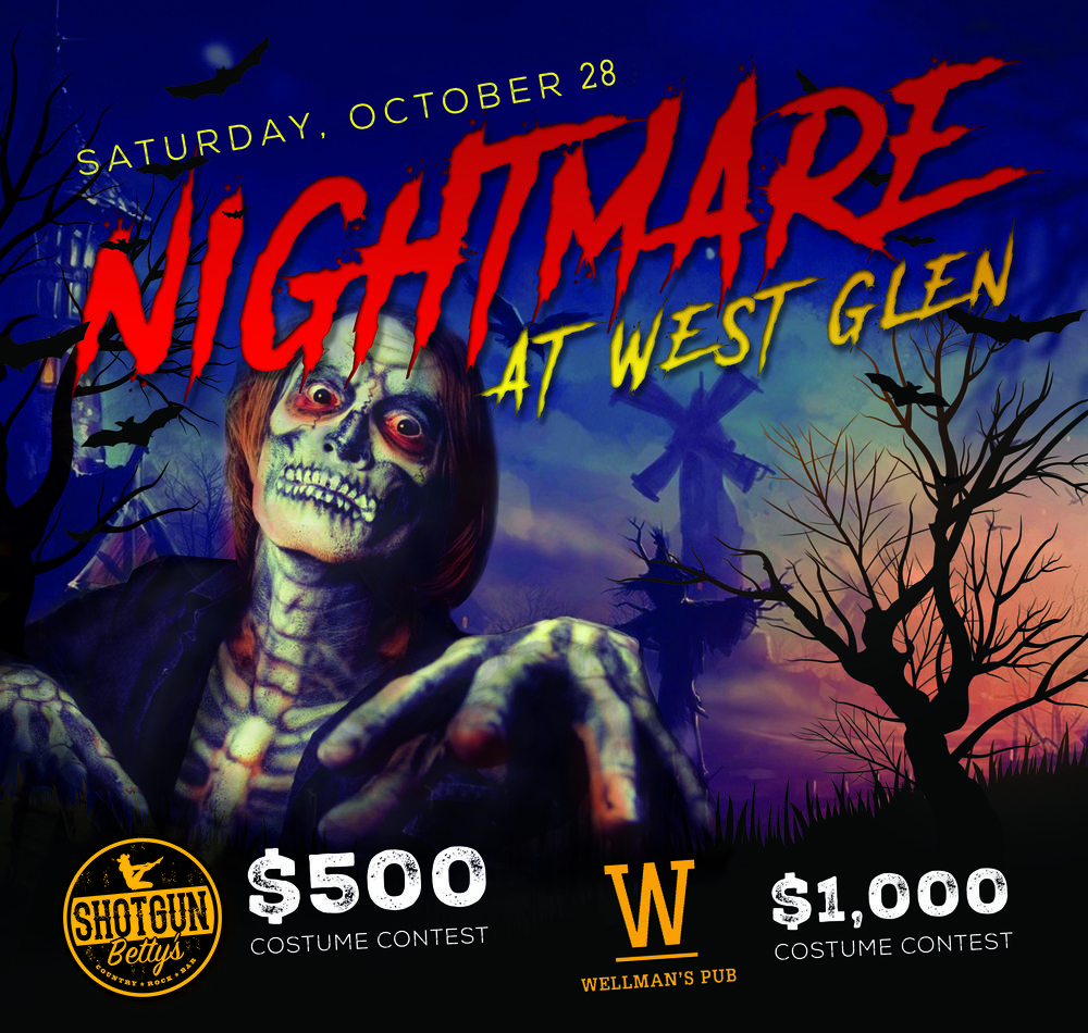 Wear your Halloween Best! Bring your buds! $1500 in cash and prizes at our Halloween Bash!  October 28th at Wellman's Pub & Rooftop and Shotgun Betty's at West Glen Town Center in West Des Moines.