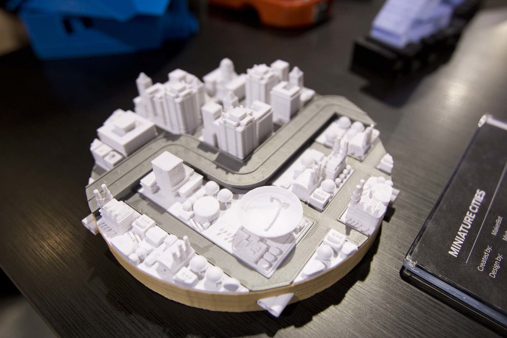 And Early Makerbot Project, the Miniture Sim City 2000 Play Set. Photo by Annelise Jeske