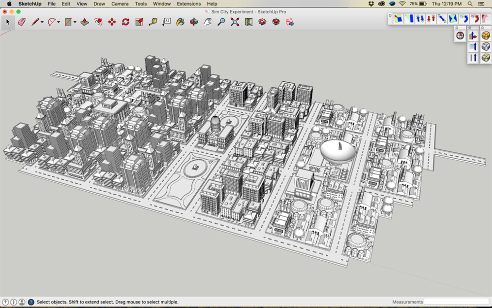 Sim City 2000 Sketchup Model Before Distortion
