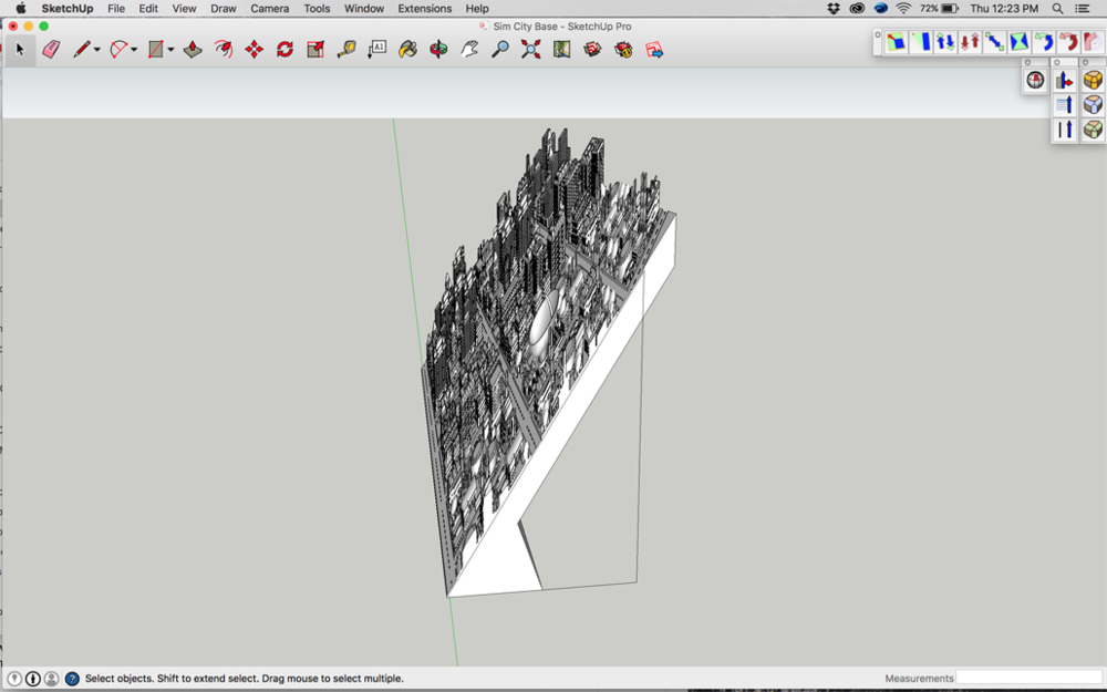 Distorted SimCity 2000 Model in Sketchup, Ready for 3d Printing