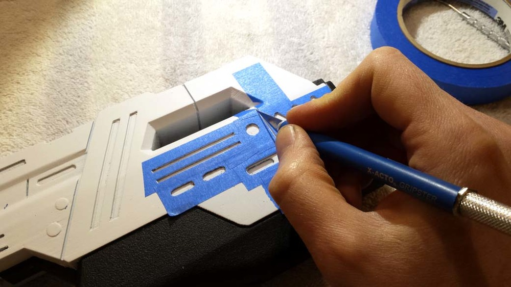 Cutting detail Masking for 3D Printed Cosplay Mass Effect Pistol