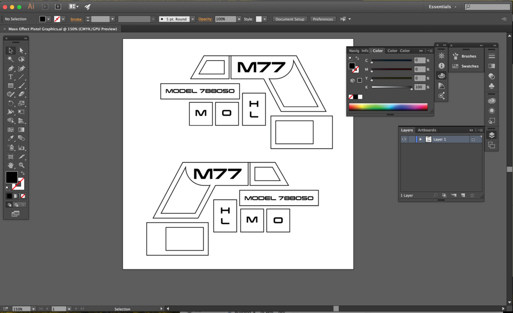 Vinyl stencils for 3D Printed Cosplay Mass Effect Pistol created in Adobe Illustrator