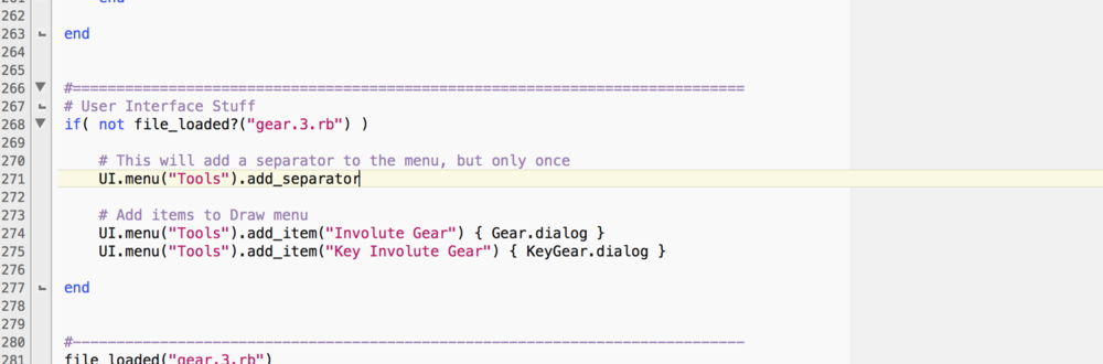 The Modified UI section of the gear.3.rb plugin's Ruby Script