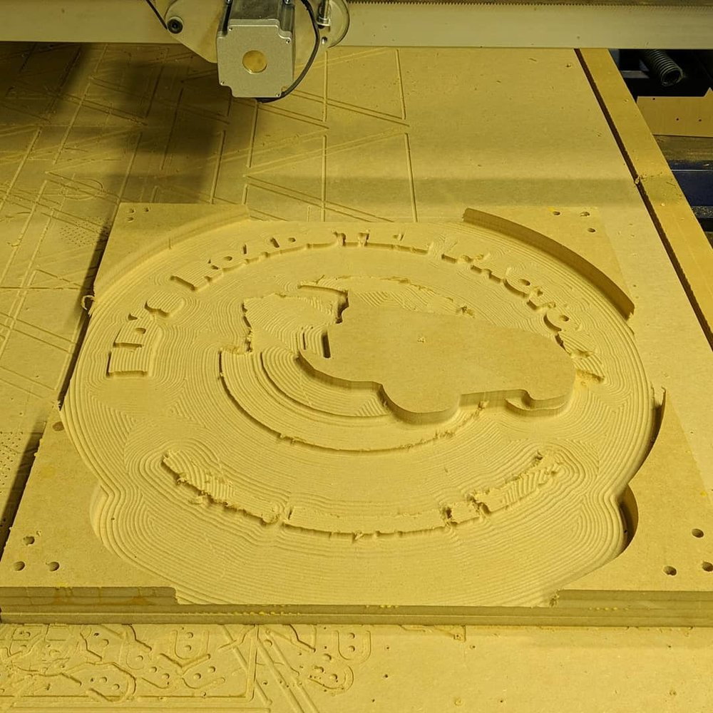The MDF Block after the first Autodesk Fusion 360 3D CNC Path has been cut