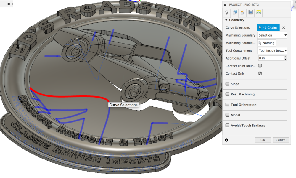 Creating a Projected milling path in Autodesk Fusion 360