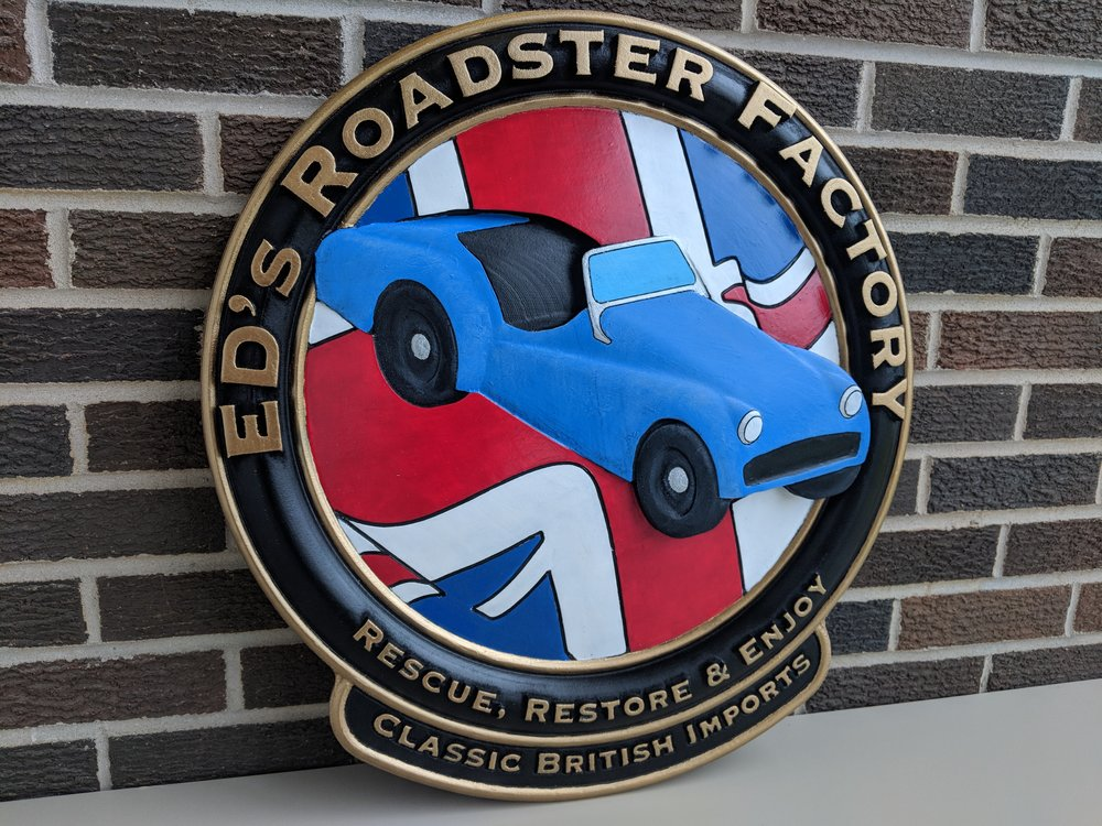 Finished Sign for a Little British Car Auto Shop 3D Carved on a ShopBot CNC with AutoDesk Fusion 360