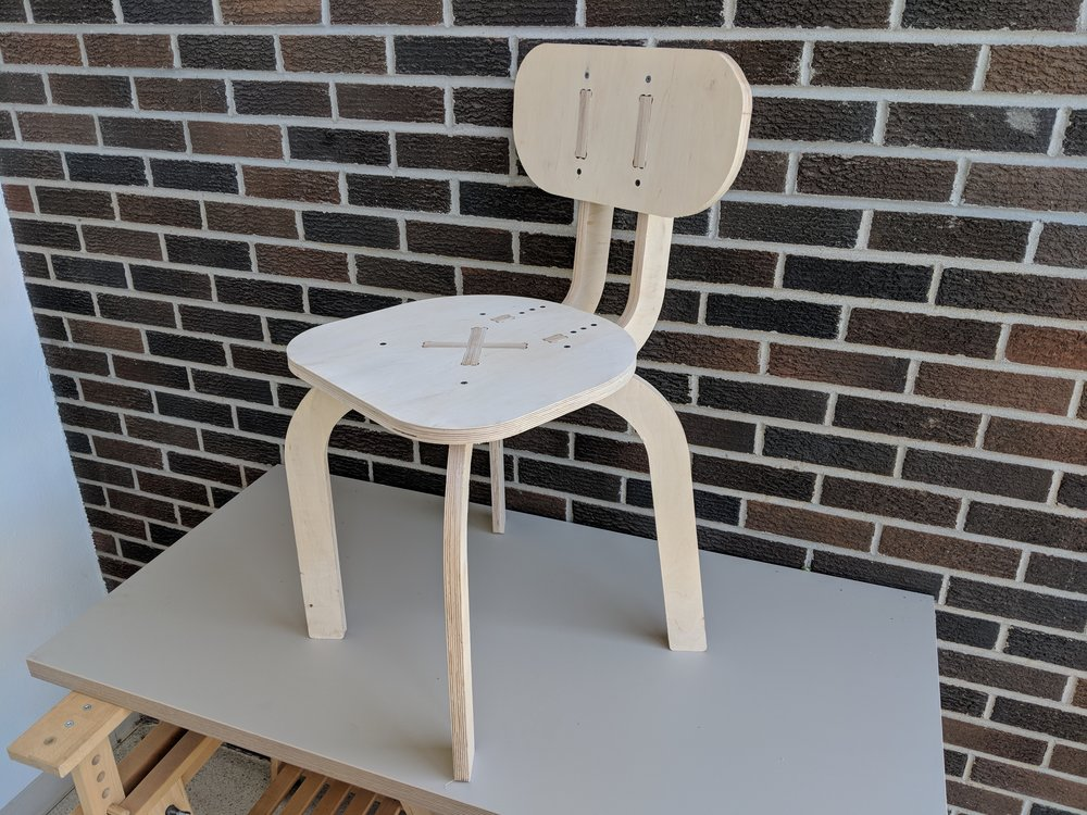 A CNC Chair, Carved from 18mm Baltic Birch Plywood, Designed to be Parametric in Fusion 360