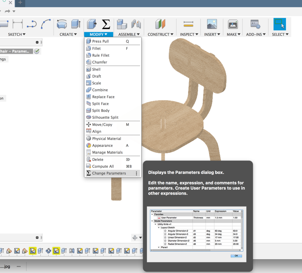 Finding the Change Parameters window in Fusion 360 Model workspace.
