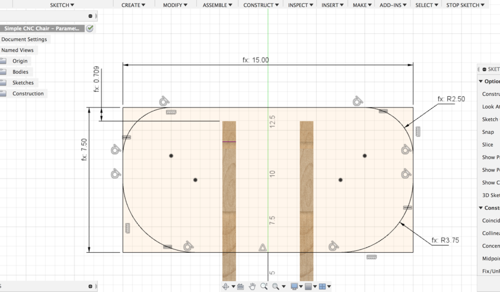 An example of a parametic sketch in Fusion 360