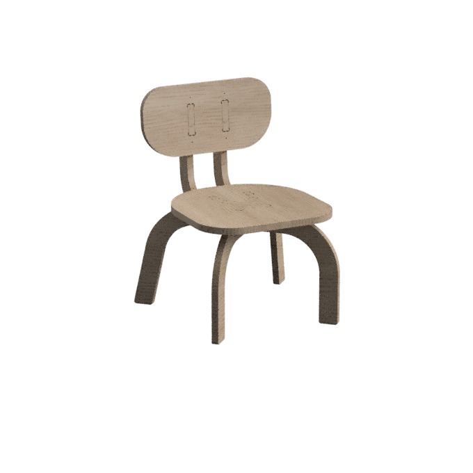 A kindergarten size version of our parametric chair
