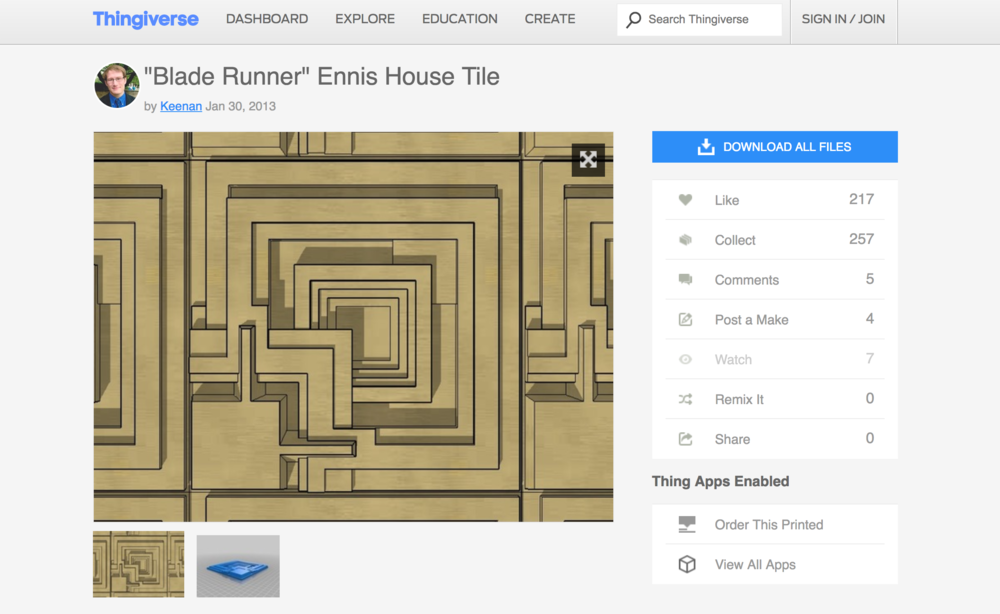 Keenan's Blade Runner Ennis House Tile page on Thingiverse