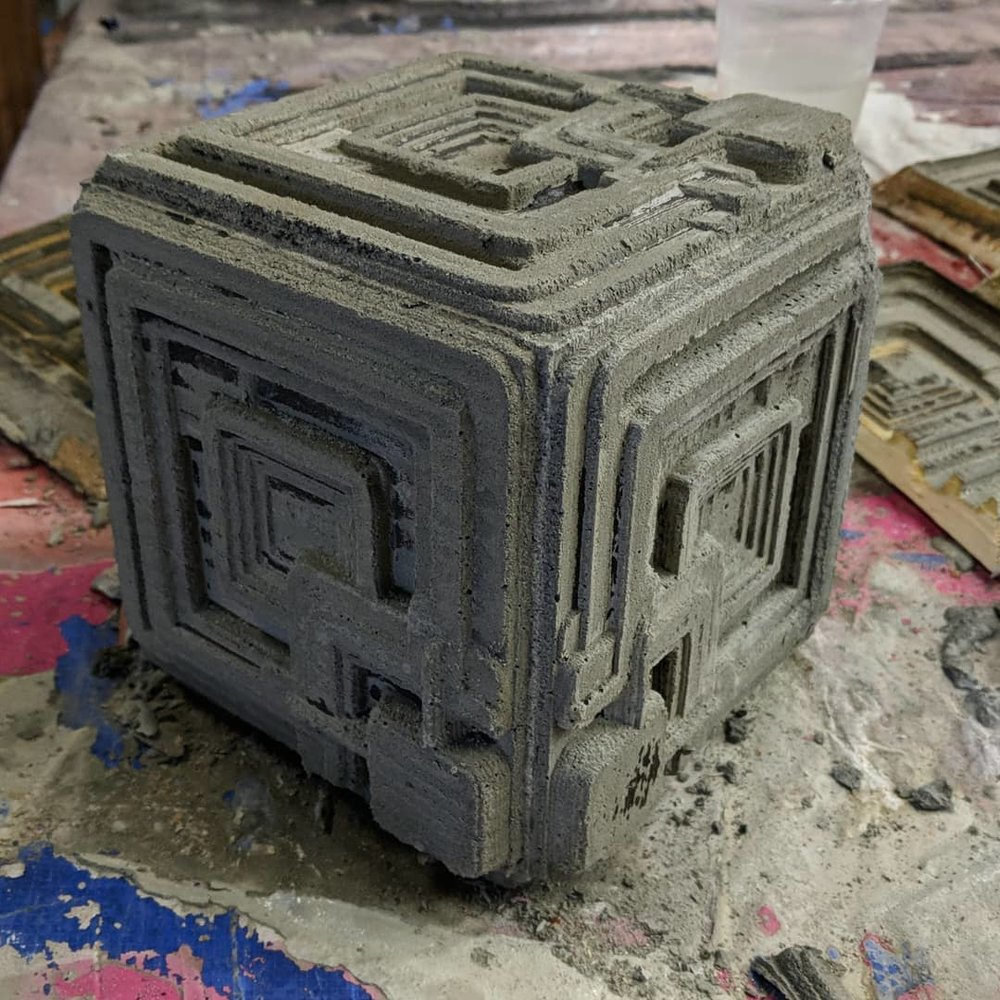 The Finished Blade Runner Ennis House block after demolding