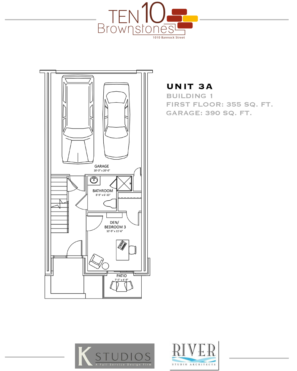 Click image to view & download Unit 3A floor plan