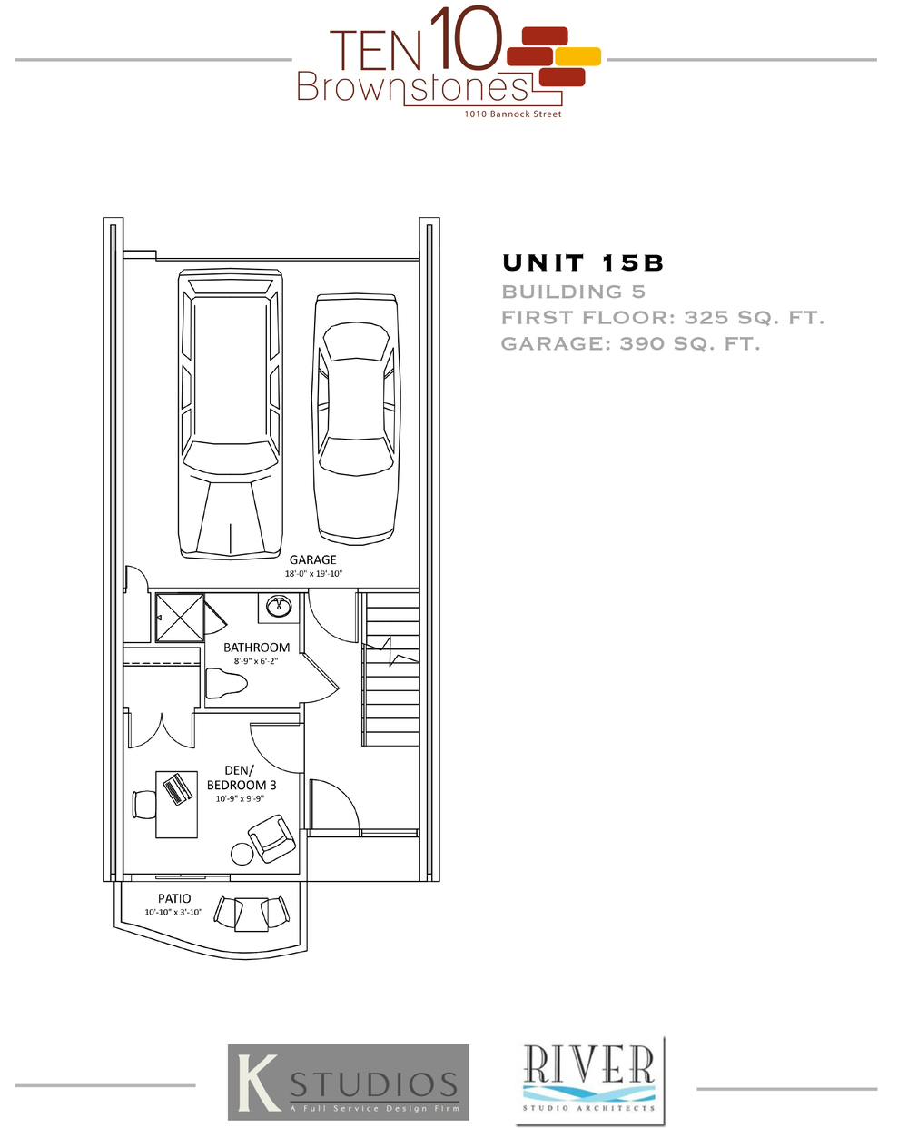 Click image to view & download Unit 15B floor plan