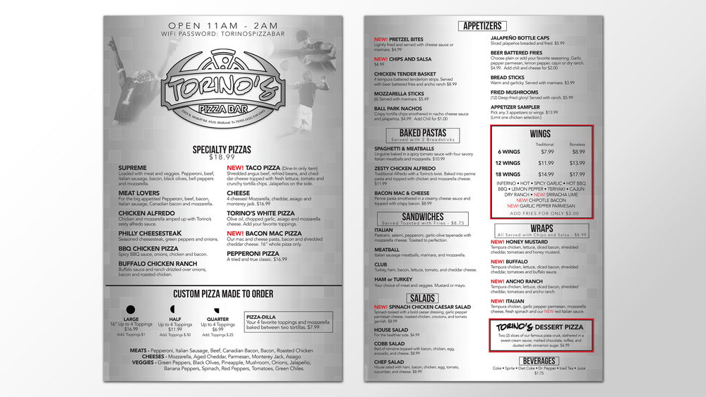 Torino's Pizza Bar Menu Design