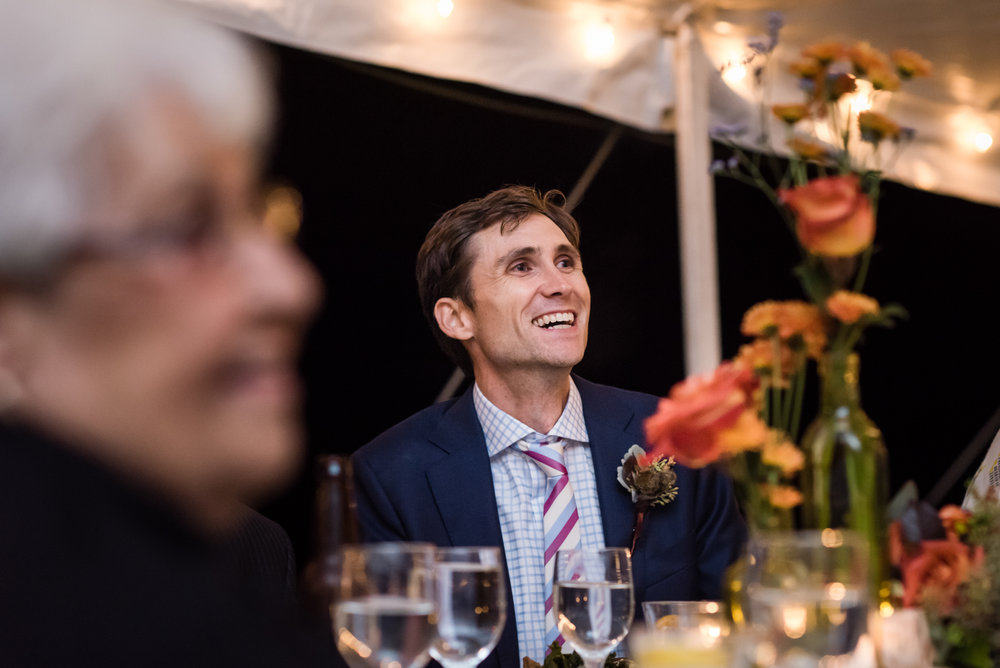 Stefy Hilmer Photography -groom listens to speeches during wedding reception.jpg