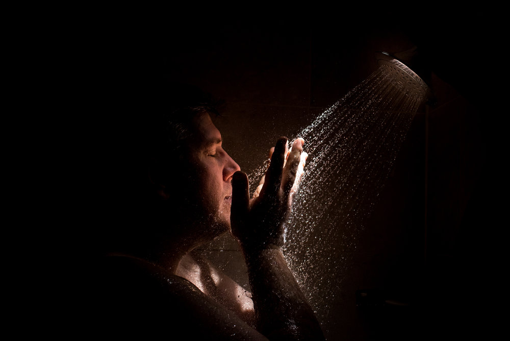 Stefy Hilmer Photography-groom in the shower getting ready for his wedding .jpg