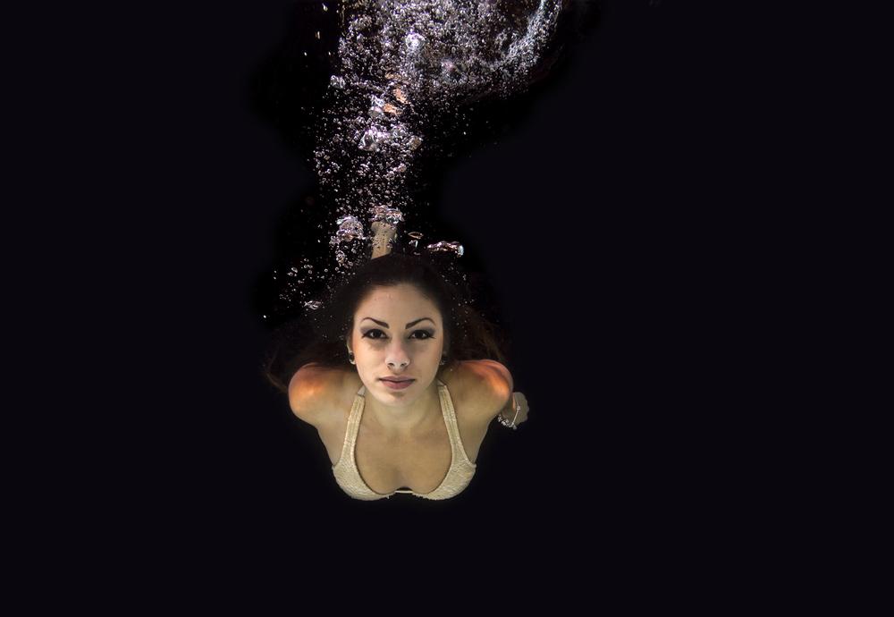 Summer underwater at night