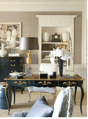 We Have Seen Some Of The Most Beautiful Things, Which Inspires Me To Covet  A Desk Like This Beautiful Black And Gold One.