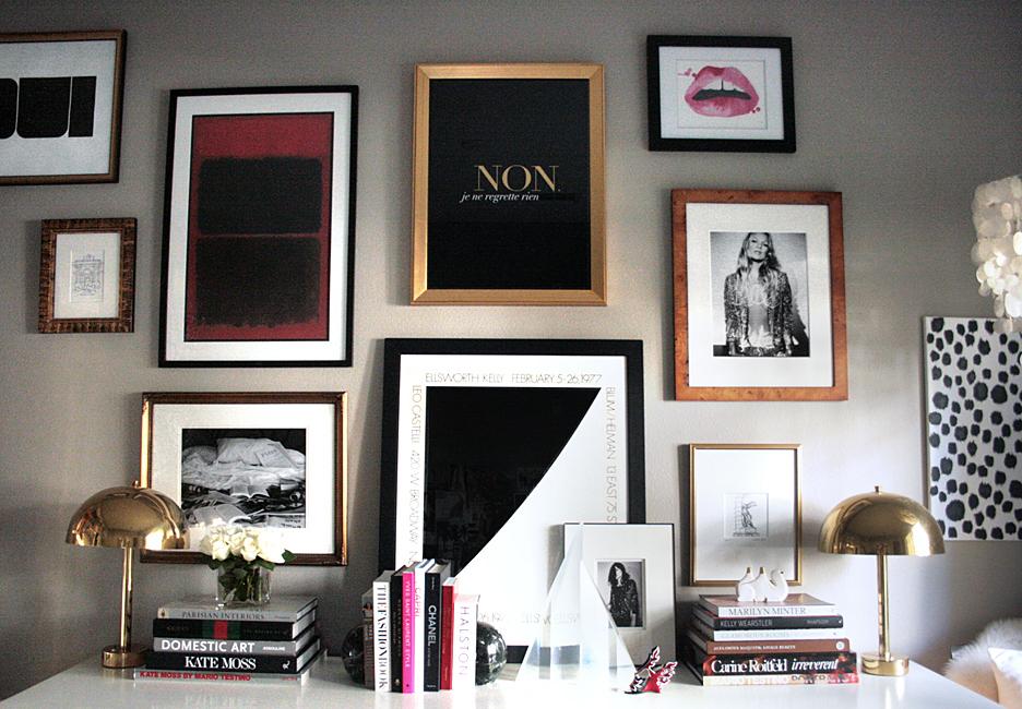 small-shop-Erika-Brechtel-office-console-gallery-wall-design-books-brass-lamps