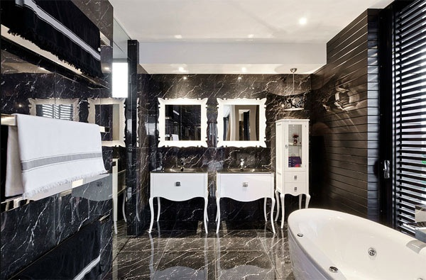 Freshhome With Black Marble Tile Bathroom