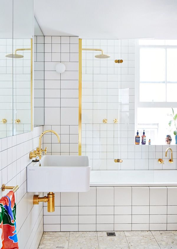 white and gold bathroom- design files