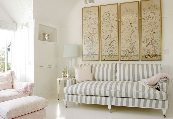 Spring means chinoiserie inspired by degournay the for Grey striped wallpaper living room