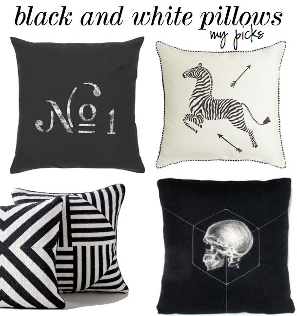 The Decorista black and white pillows