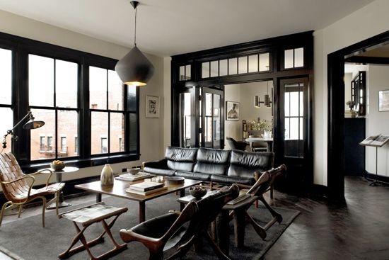 Stone And Wood Make A Dark Masculine Interior: Design Ideas: Black Trim, White Walls...