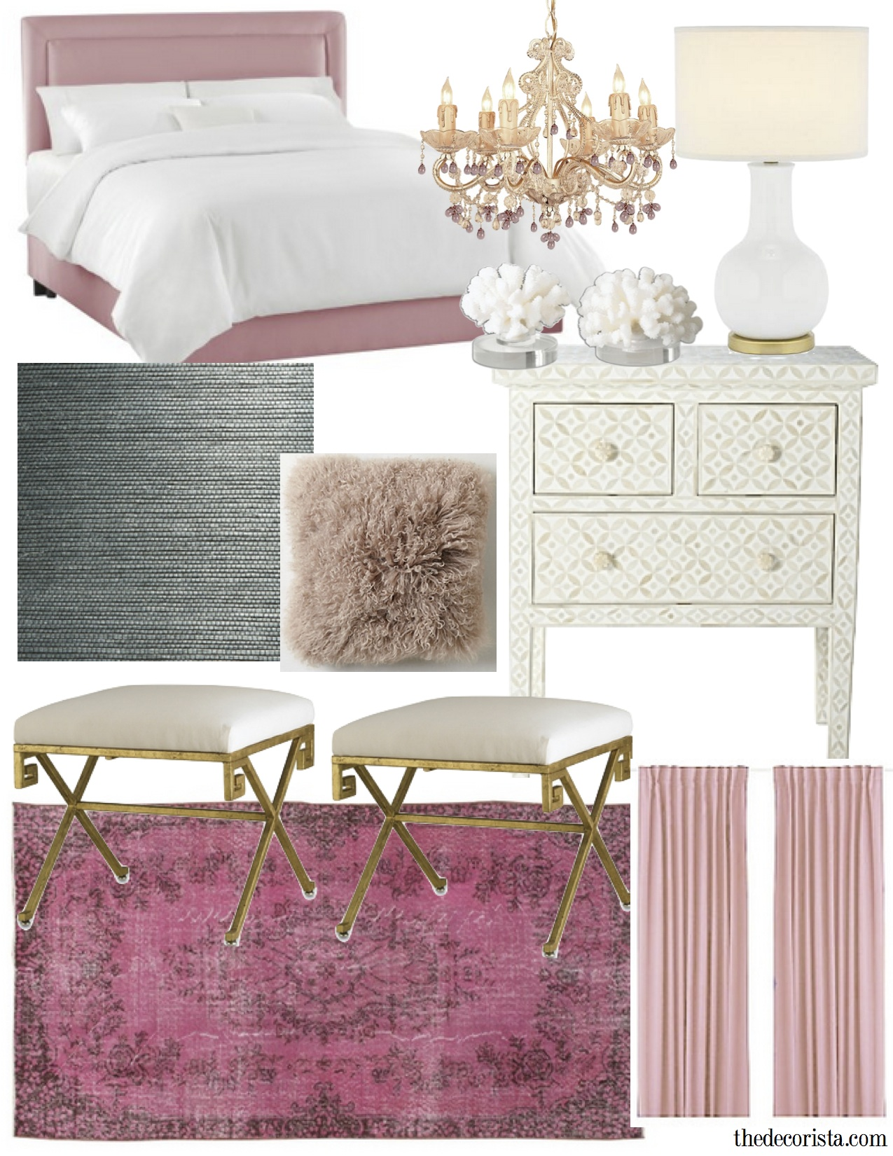 Get the look romantic modern bedroom the decorista - Pink white and gold bedroom ...