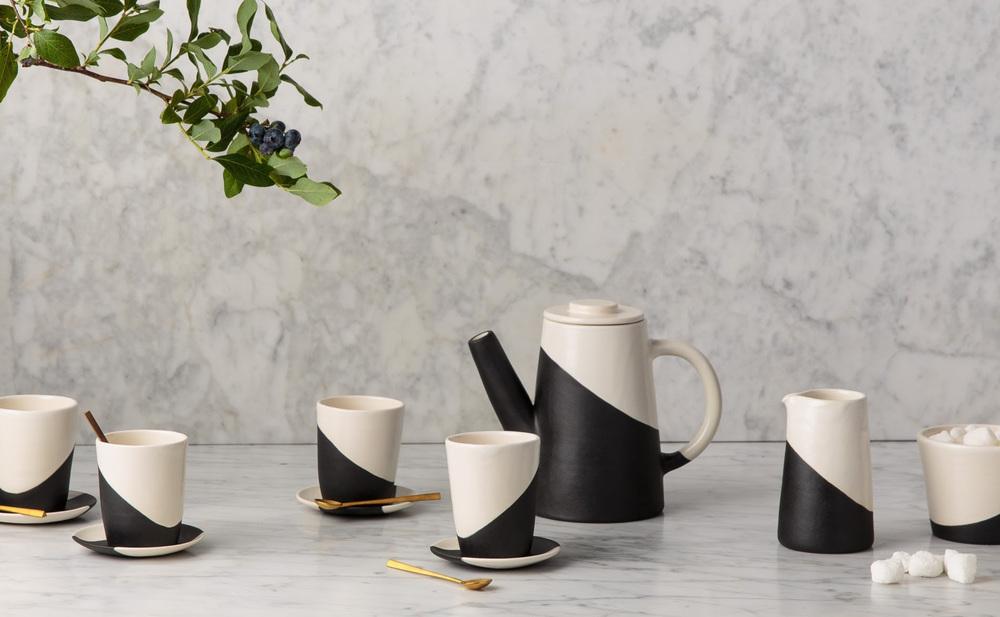 black and white tea set