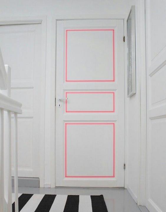 DIY pale pink tape door idea