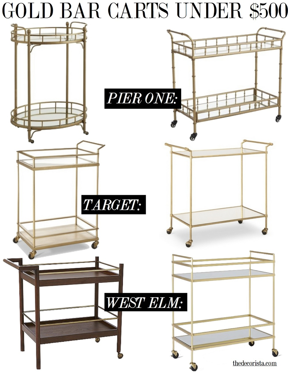 gold bar carts under $500 -the decorista