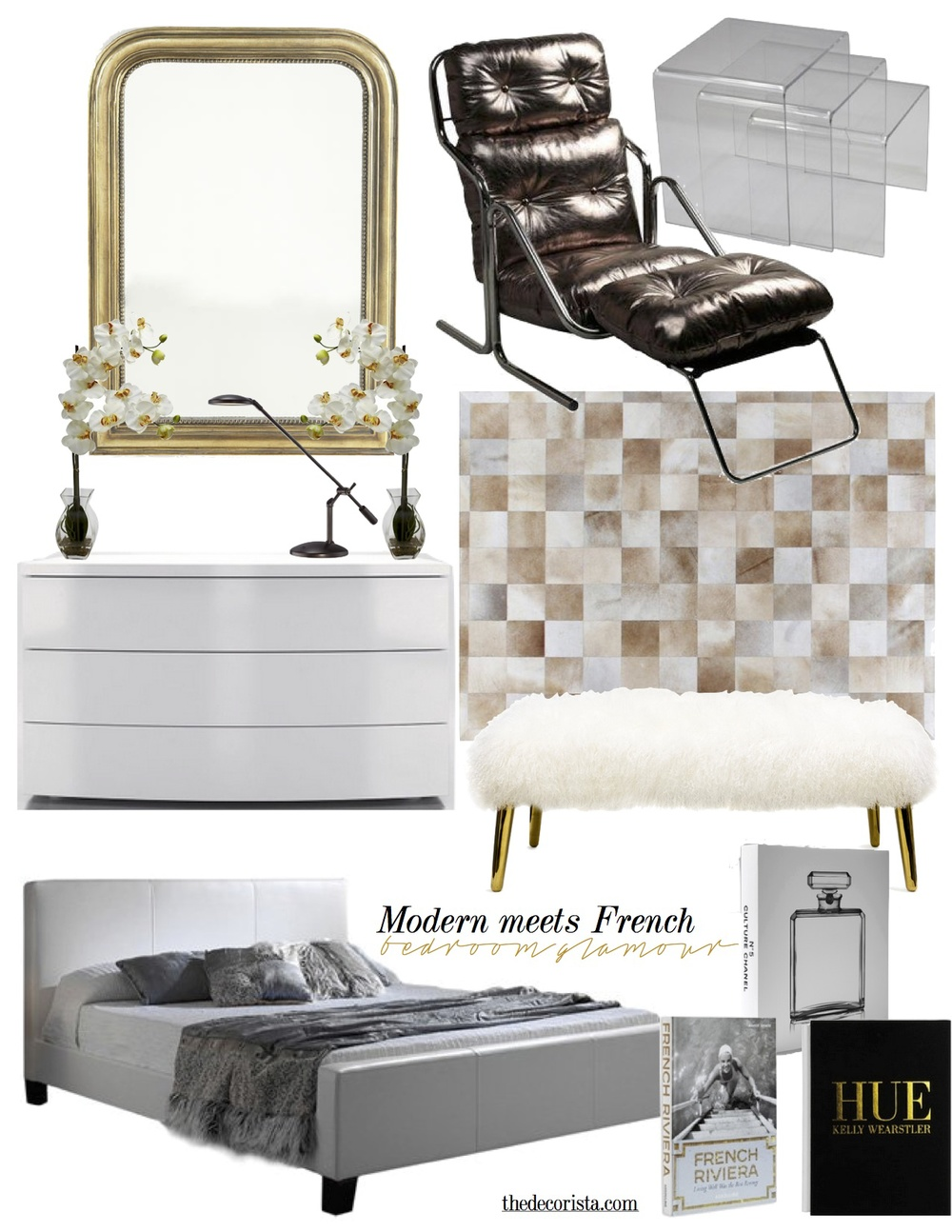 Contemporary Bed | French Gilt Mirror | Acrylic Nesting Tables | Modern  White Dresser | White Mongolian Bench | 1970u0027s Leather Lounger | Square  Stitched ...