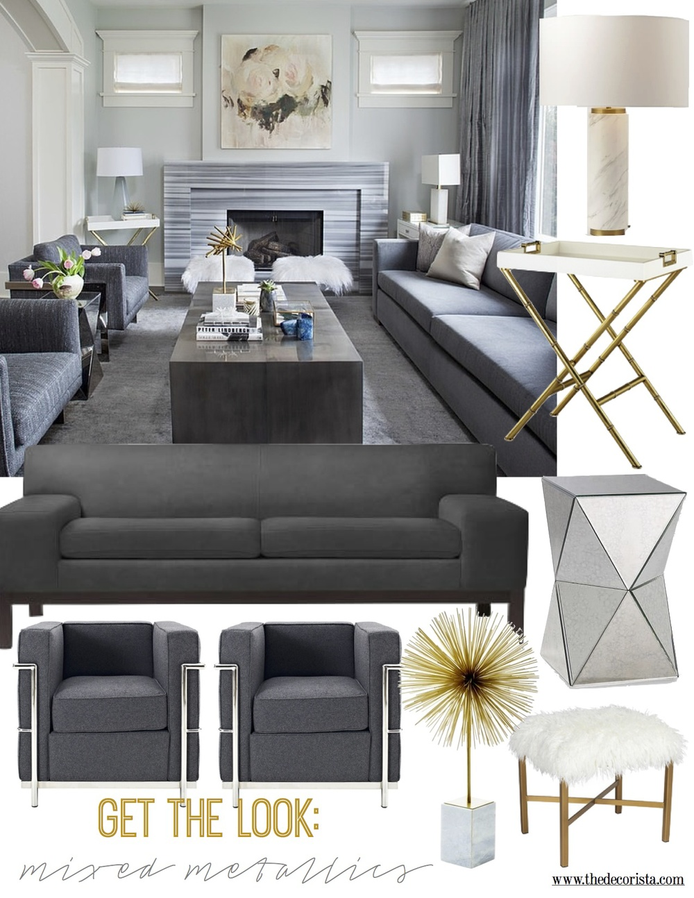 The Decorista - refined mixed metallics living room