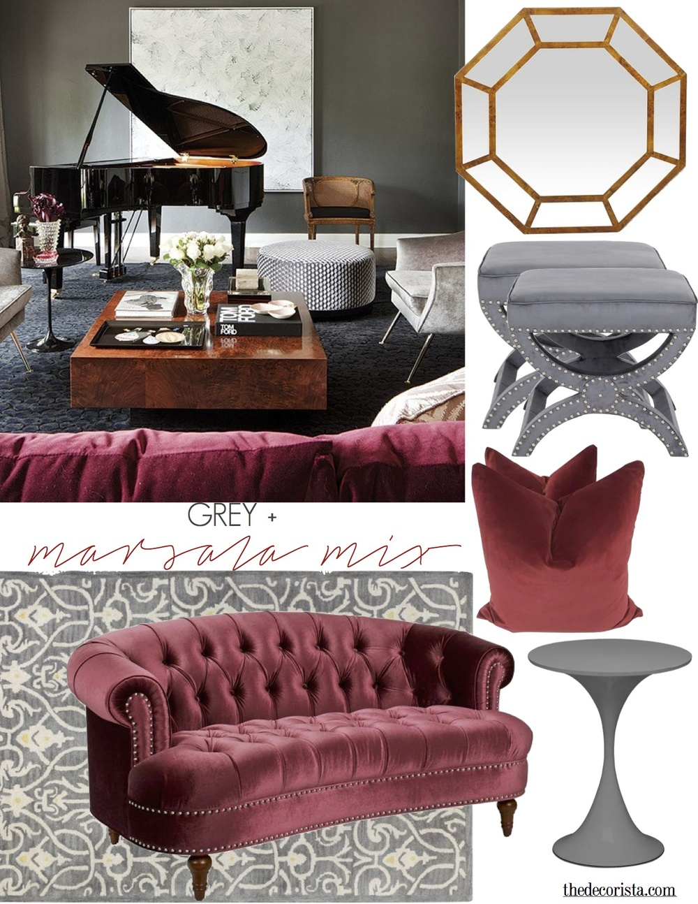 Grey + Marsala mix - inspired by David Hicks
