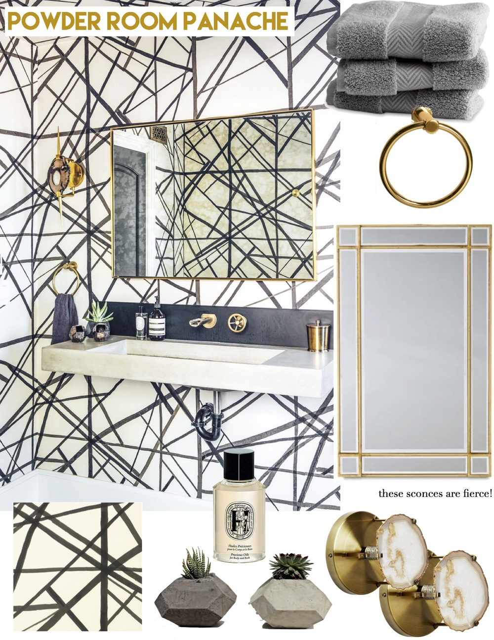 get the look: powder room panache