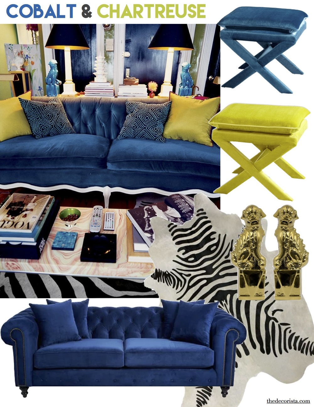 I Have Been Wanting A Blue Velvet Sofa For So Long, And Now I Am Dying For  This Blue Tufted One. This Gorgeous Cobalt Blue X Stool ...