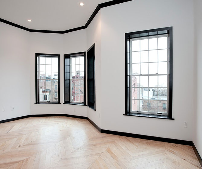design inspiration black molding white walls
