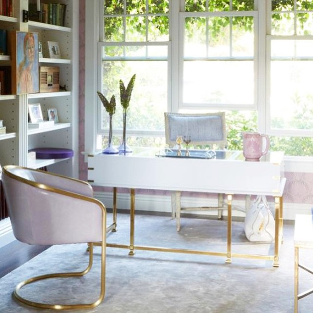 This Office Space By Windsor Smith Is Just Gorgeous. That Pink And Gold  Chair Is Just So Beautiful!