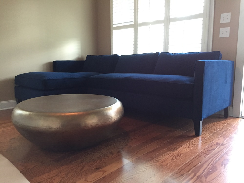 On The Opposite Side Of The Room Is The TV Sofa Area, We Are Going With A  Bold Sofa, Its The Ink Blue Dunham L Shaped Sofa From West Elm, ...