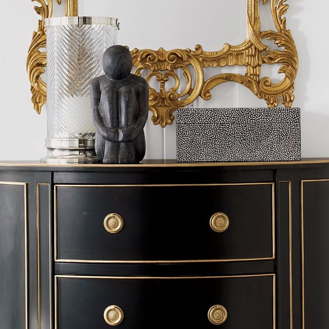 BLACK GOLD Vintage Henredon 9 Drawer Serpentine Dresser