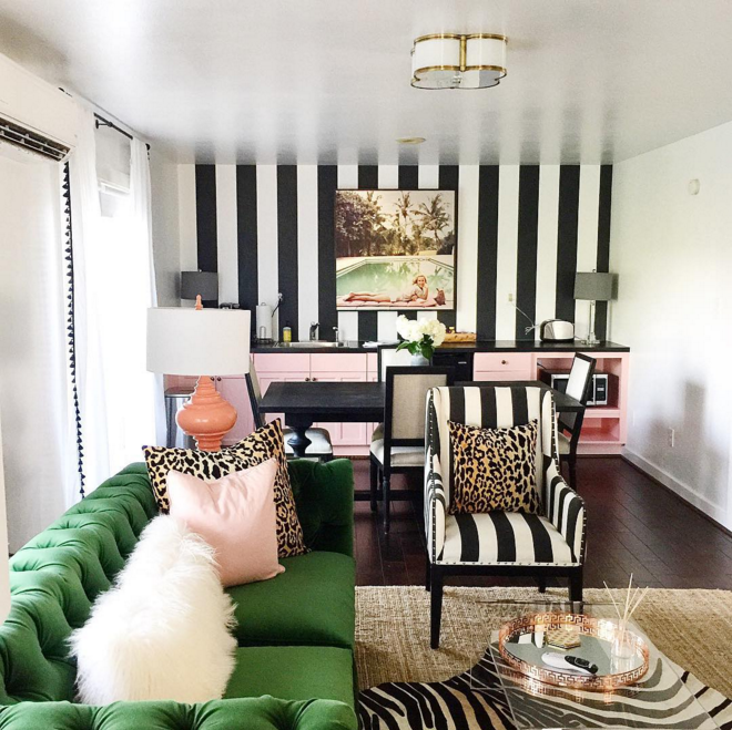 Katie Kime Did This Fabulous Little Bungalow Which Totally Reminds Me Of  The Beverly Hills Hotel. I Just Adore The Bomb Green Sofa. So Beautiful.