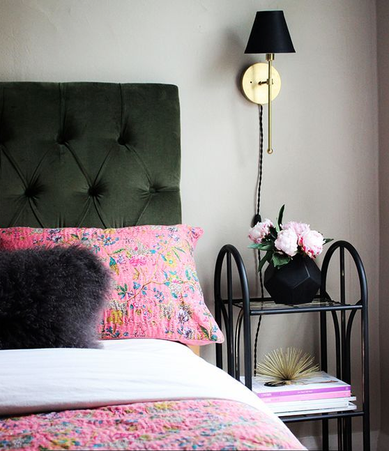 Get The Look Boho Glam Bedroom Black And Gold Sconces Decorista