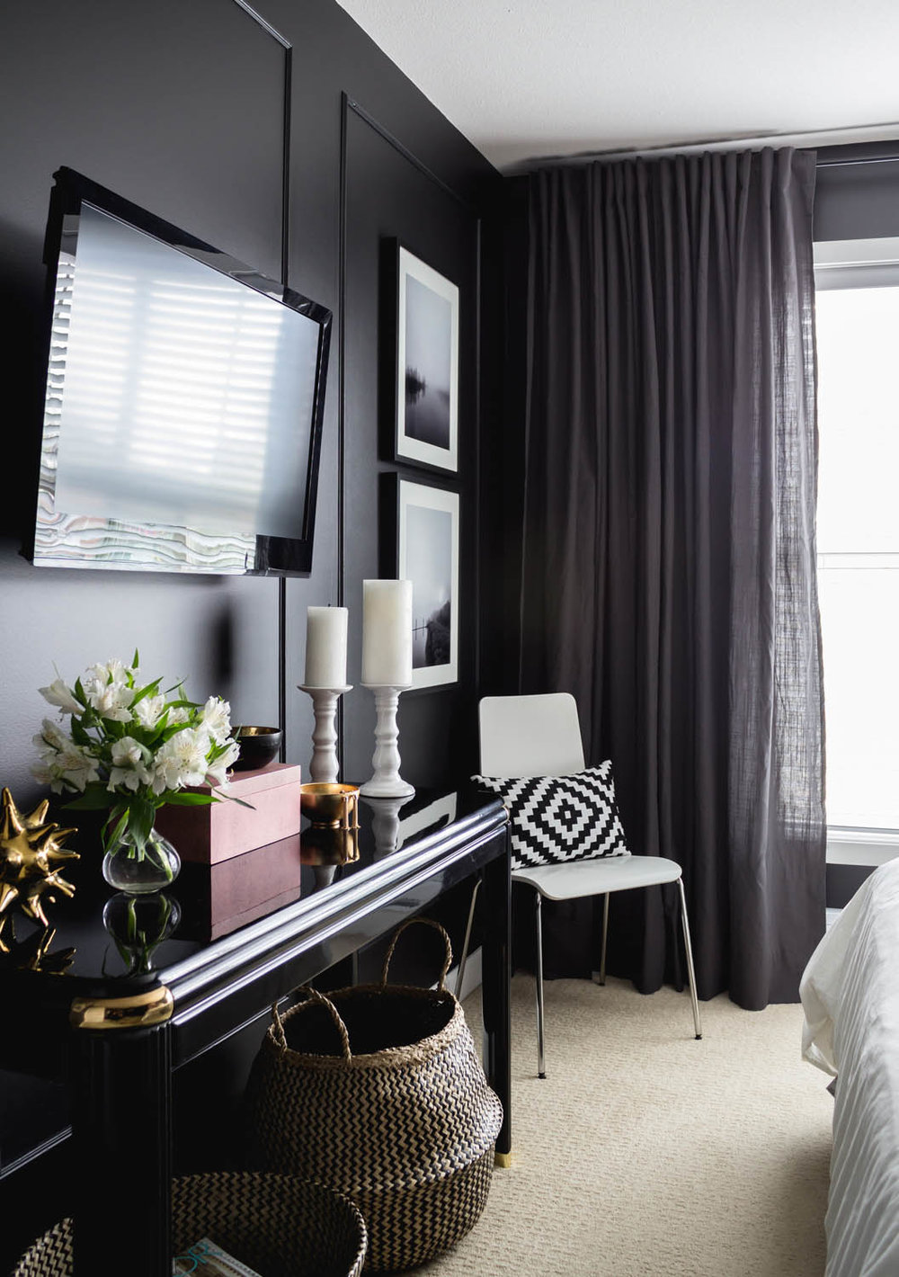 This Bedroom Refresh By Crush Interiors, Originally Posted On Rue.  Obviously I Love Black So This Room Just Called Out To Me.