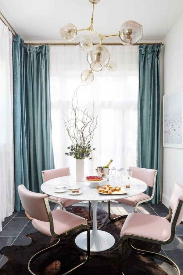 Why Adding A Rug Under Dining Table Sets Is A Must: Pretty & Pink: How To Use Pink Chairs At Home