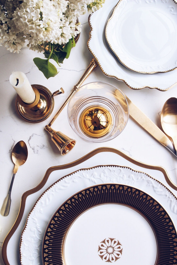 gold and white tabletop