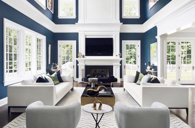 navy living room glamorous
