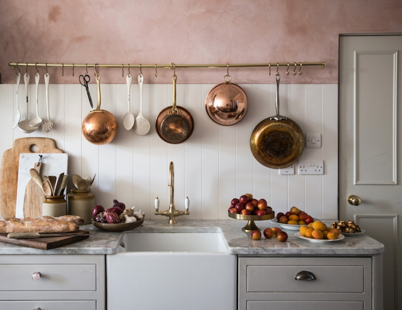 pink and copper kitchen
