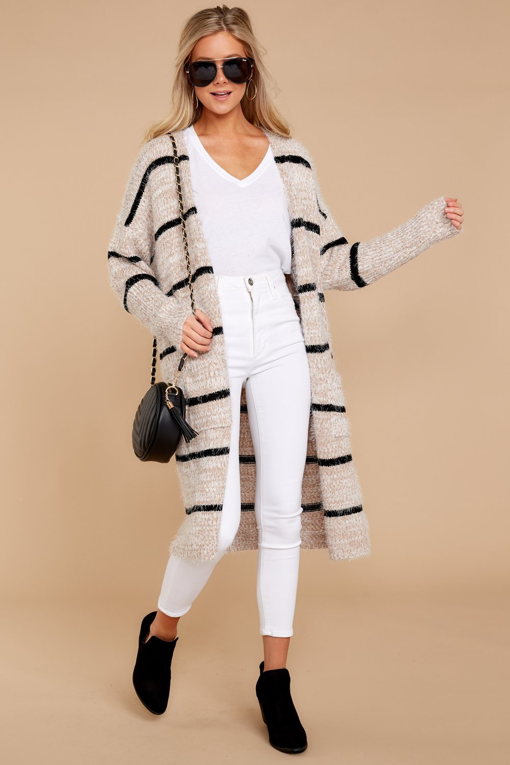 black and tan striped cardigan